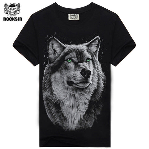 Rocksir 3d wolf t shirt mens Brand 3D Indians wolf Print t shirts Cotton wolves Men t-shirt Casual Man Tees Mens Tops-2