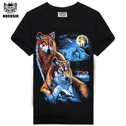 Rocksir 3d wolf t shirt mens Brand 3D Indians wolf Print t shirts Cotton wolves Men t-shirt Casual Man Tees Mens Tops-6