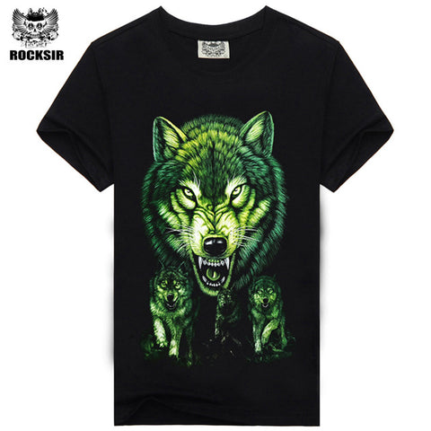 Rocksir 3d wolf t shirt mens Brand 3D Indians wolf Print t shirts Cotton wolves Men t-shirt Casual Man Tees Mens Tops-4