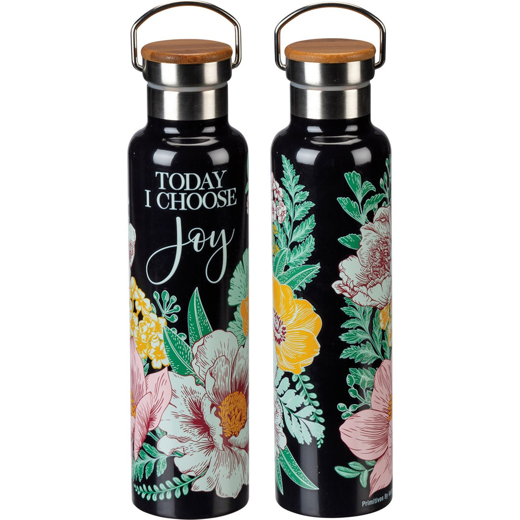 Floral Insulated Bottle with Inspirational Messages