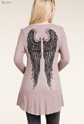 Embellished Wing and Stone Long Sleeve Shirt