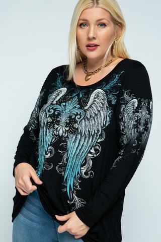 Rhinestone Wing Top - Plus Size