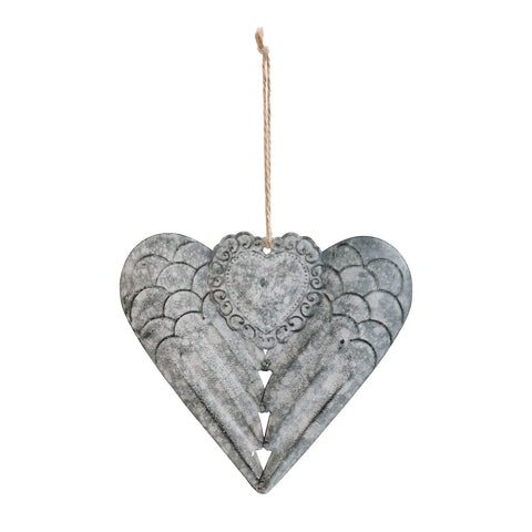 Winged Metal Heart Ornament