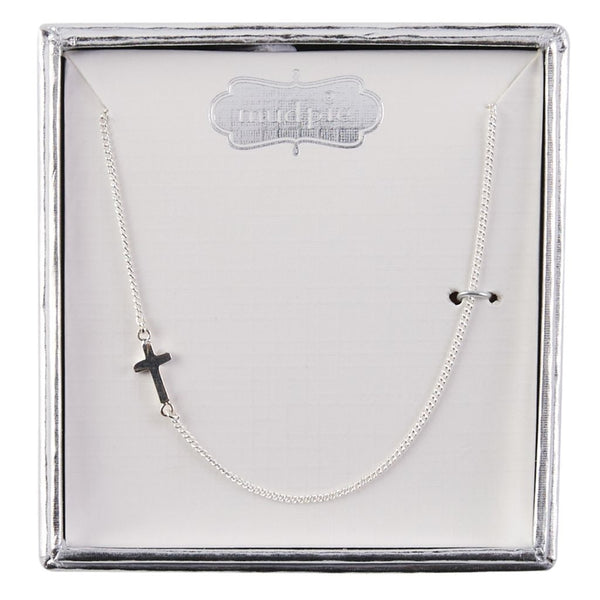 SMALL STERLING SILVER SIDE CROSS NECKLACE