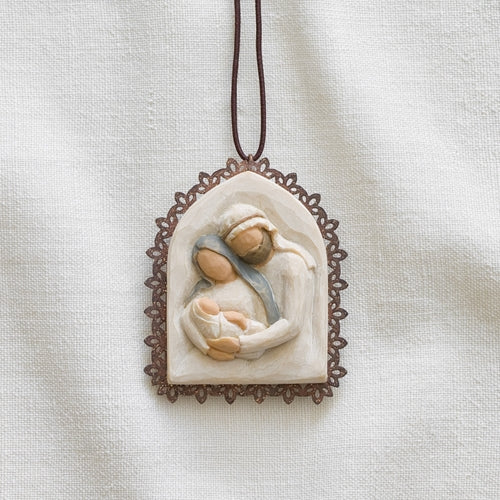 WILLOW TREE®, HOLY FAMILY METAL-EDGED ORNAMENT