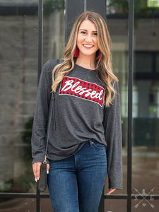 "Distressed  Buffalo Plaid ""Blessed"" Shirt"