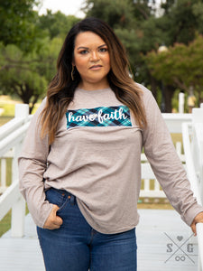 "Teal Plaid ""Have Faith"" Long Sleeve Tee"