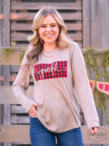 "Distressed  Buffalo Plaid ""Grateful"" Shirt"