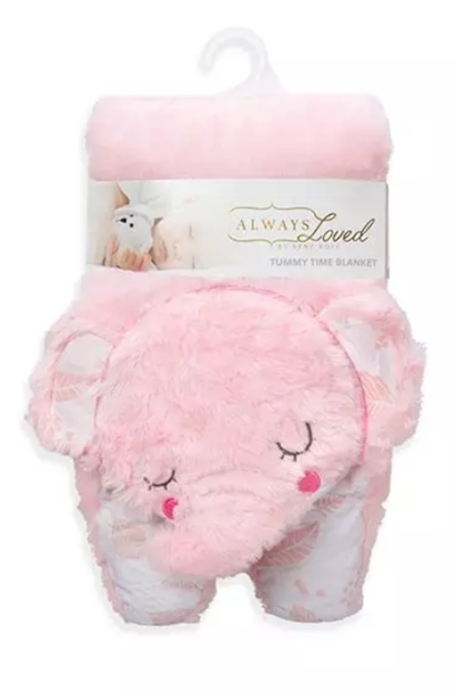 Always Loved Tummy Time Blanket - Pink Elephant