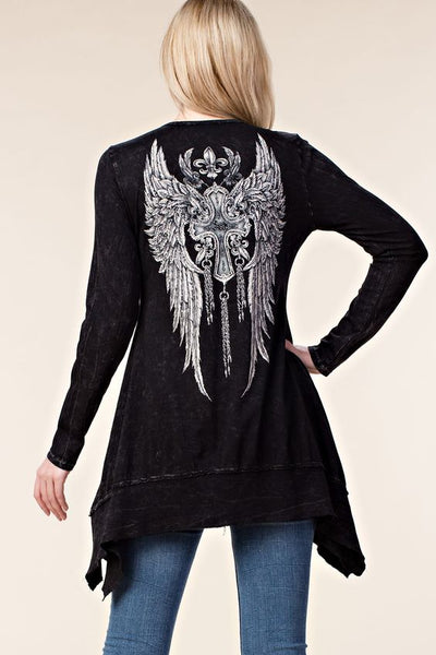 Stone Washed Rhinestone Wing Top