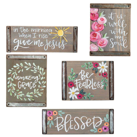 Inspirational Gray Wood Block Sign Collection