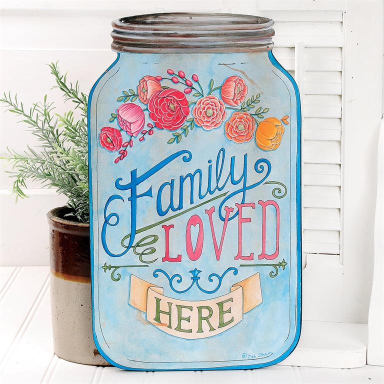 Family Loved Here - Mason Jar Wall Sign