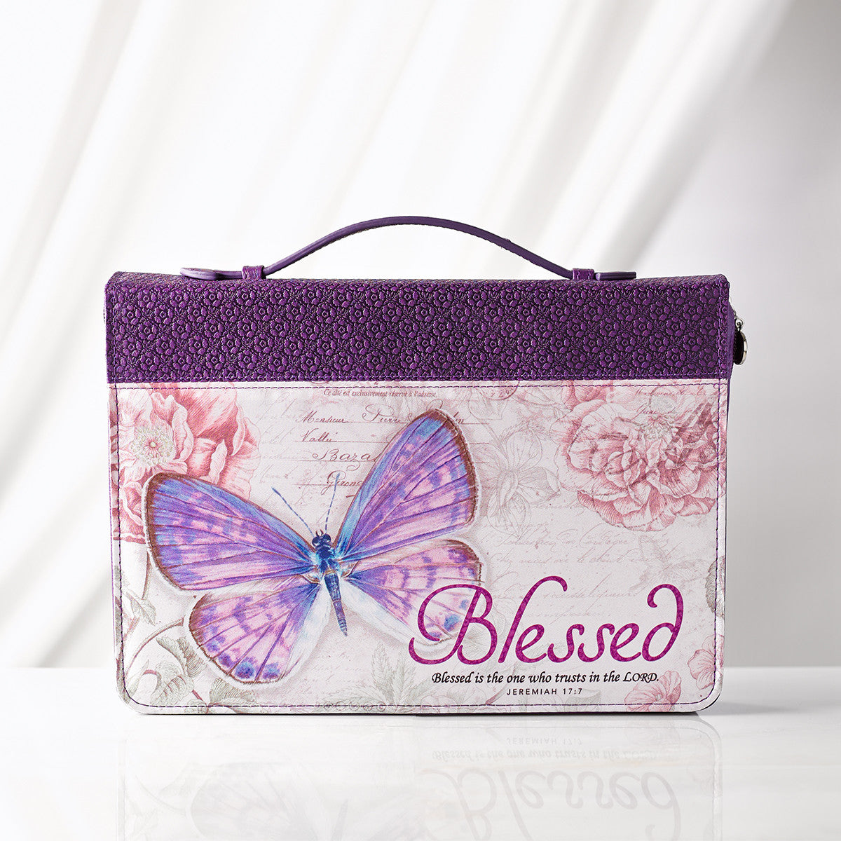 Blessed Purple Butterfly Bible Cover