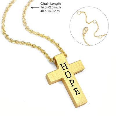 Walk by Faith Message Cross Necklace