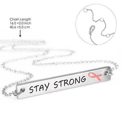 "Breast Cancer ""Stay Strong"" Ribbon Necklace"