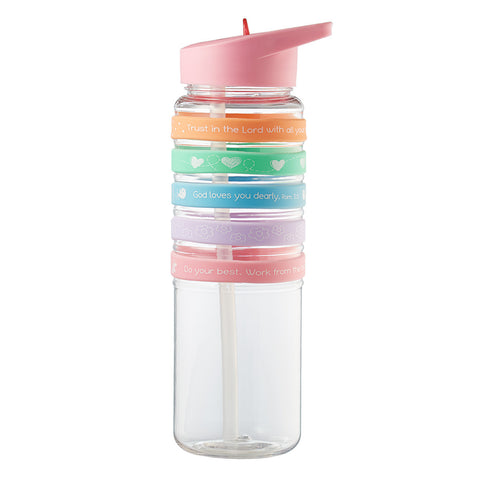 Holly & Hope - Pink Plastic Flip Straw Water Bottle w/Wristbands