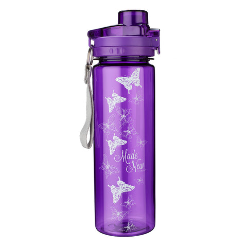 Made New in Christ 2 Corinthians 5:17 - Purple Plastic Water Bottle: