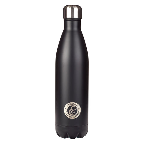 Strong and Courageous - Joshua 1:9 Black Stainless Steel Water Bottle
