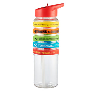 Red Plastic Flip Straw Water Bottle w/Wristbands - Super Heroes of the Bible
