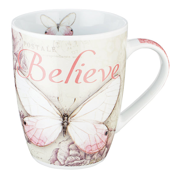 Butterfly Coffee Mugs -- Blessed in Purple and Believe in Pink