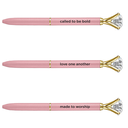Beautiful Gem Top Pens with Scripture - various prints