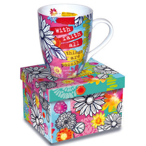 Bright and Bold Floral Scripture Mugs