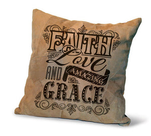 Leather Cushion - Faith, Love & Amazing Grace