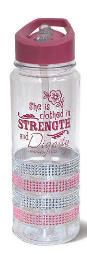 She is Clothed Proverbs 31:25 - Water Bottle Pink Gem w/Straw