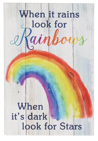 When it rains Rainbow Mini Plaque