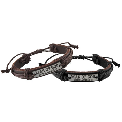 Leather Man of God Bracelet