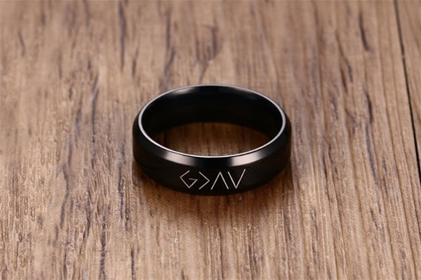 God Is Greater Than The Highs And Lows Ring- Stainless Steel