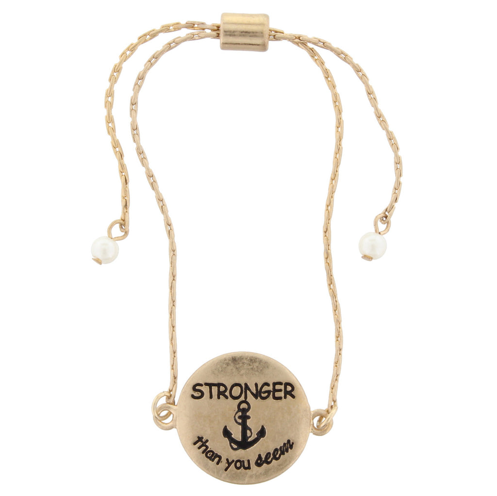 "ANTIQUE GOLD BRACELET ""Stronger than you seem"""