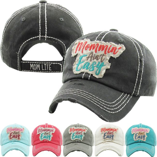 Mommin' Ain't Easy Washed Vintage Distressed Ball Cap