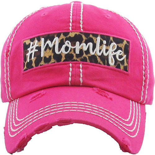 #Momlife Vintage Distressed Ball Cap