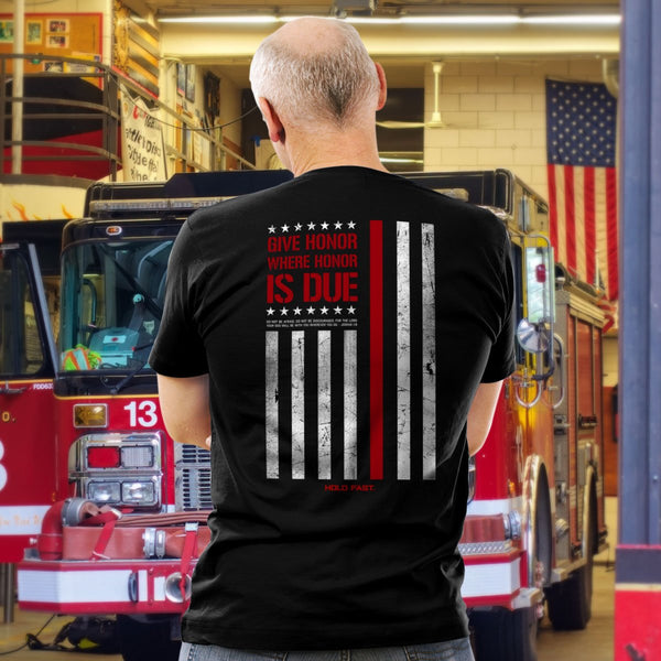 Hold Fast Firefighter Flag Tee