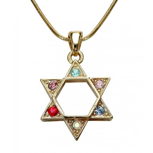 Colorful Stone Star of David Necklace