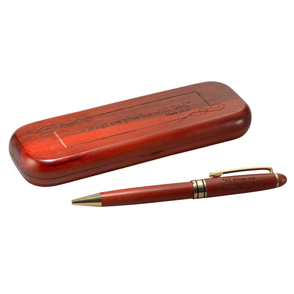 Rosewood Wooden Pen - Mark 10:27