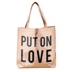 Large Metallic Totes with Inspirational Prints