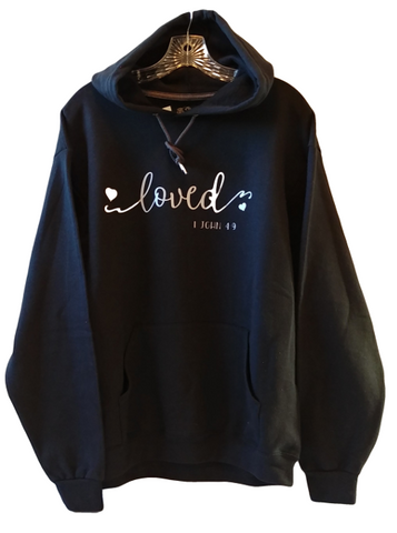 """Loved""  from 1 John 4: 9 Pullover Hoodie"