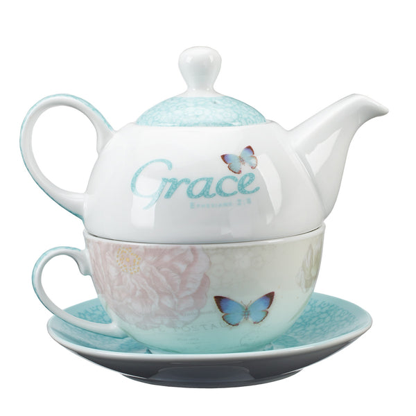 Grace Butterfly Blessings Tea Set for One