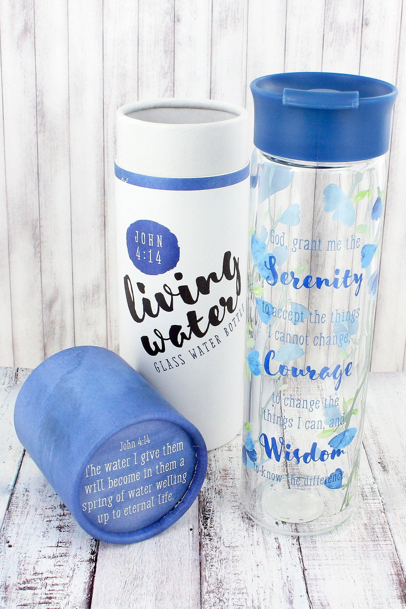 Inspirational Floral Watercolor 20OZ Glass Water Bottles