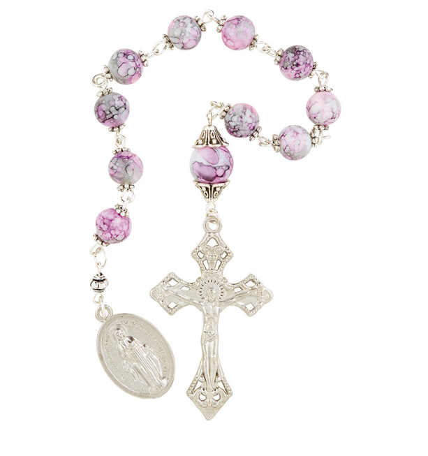 Pink Marble Pocket Rosary