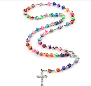 Colorful Polymer Clay Bead Rosary
