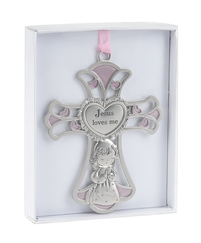Crib Cross Ornament - Jesus Loves Me
