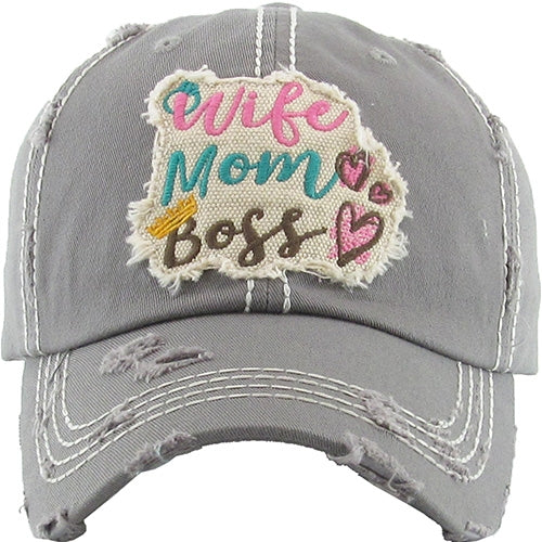 Wife Mom Boss Vintage Distressed Ball Cap