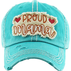 Proud Mama Vintage Distressed Ball Cap