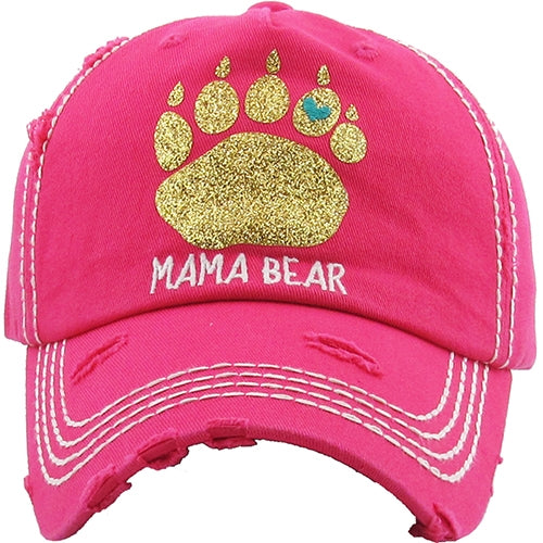 Mama Bear Vintage Distressed Ball Cap