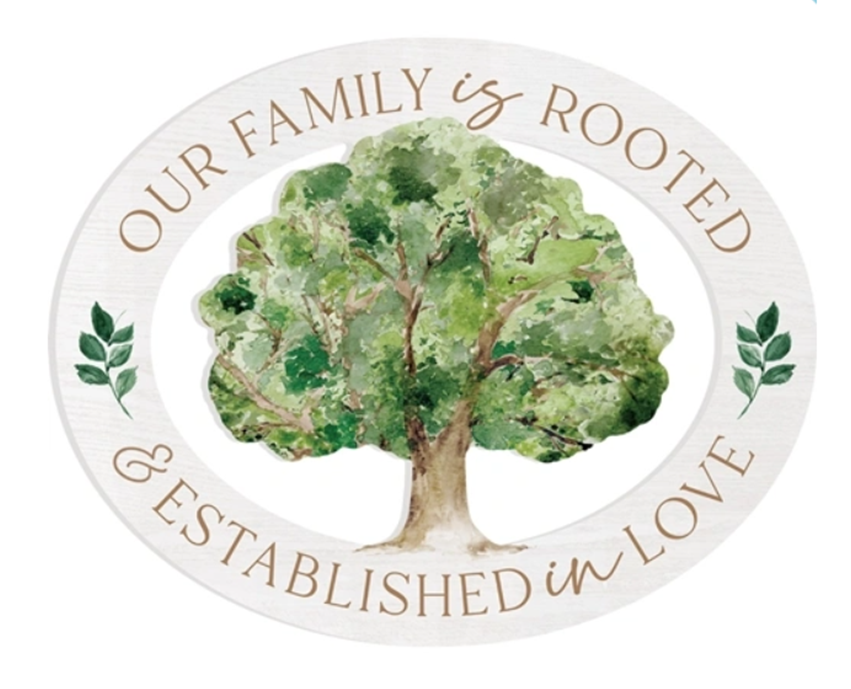 OUR FAMILY IS ROOTED AND ESTABLISHED IN LOVE Wall Decor