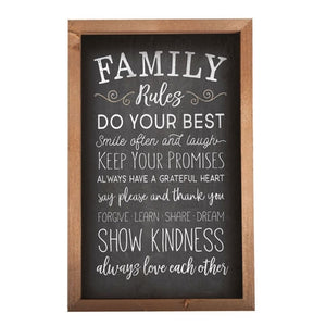 FAMILY RULES Wall Sign