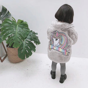 Faux Fur Coat Kids Fur Jackets Unicorn